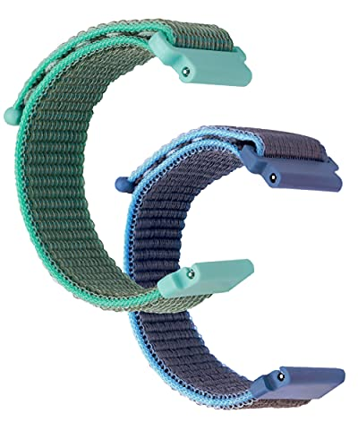 BRONGER 1/2/3 Pack Compatible for Gizmo Watch 2/1 Kids' Watch Band Breathable Hook Loop Elastic Easy to Install and Use for Kids Nylon Watch Strap with Quick Release Pins(Surf-blue Cyan-aloe)