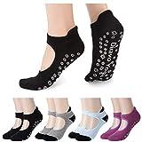4 Pairs Yoga Socks for Women Non-Slip Grips Anti-Skid Pilates, Barre, Bikram Fitness Socks Size 5-10 (4pair(Mix color B))