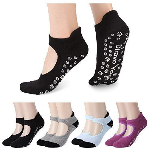 4 Pairs Yoga Socks for Women Non-Slip Grips Anti-Skid Pilates, Barre, Bikram Fitness Socks Size 5-10 (4pair(Mix color B))