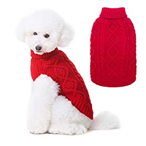 BINGPET Turtleneck Knitted Dog Sweater – Classic Cable Knit Dog Jumper Coat, Warm Pet Winter Clothes Outfits for Dogs Cats in Cold Season