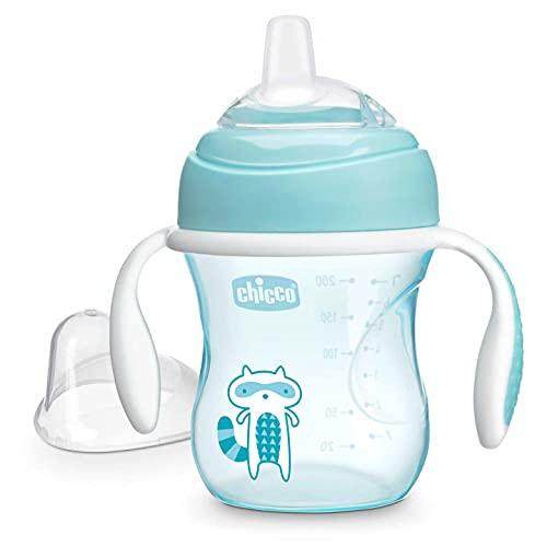 Chicco Vaso de Transición, Vaso Antiderrame 200 ml, Vaso Aprendizaje para Bebés de +4 Meses para Aprender a Beber, con Boquilla de Silicona Blanda, Anti-Cólico, sin BPA ,Color Azul