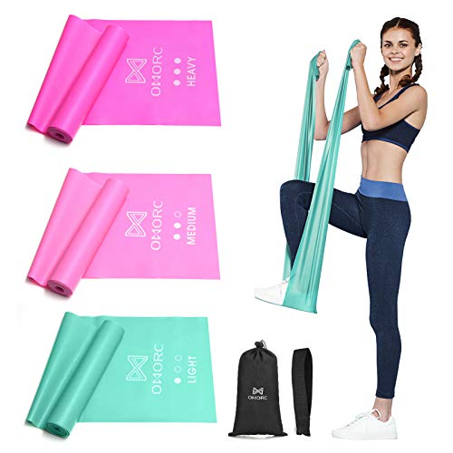 OMORC Resistance Bands, Latex Elastic Bands with Door Anchor for Physical Therapy, Home Gym Workout, Strength Training, Yoga, Pilates, Stretch Exercise Band for Men Women, Pink
