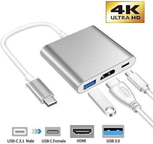USB-C auf HDMI-Adapter, 3-in-1 Multiport USB Typ C auf 4K HDMI, USB 3.0 und USB C Power Delivery Port Konverter kompatibel mit MacBook/Chromebook Pixel/Dell XPS13/Samsung S10/S10+ und mehr