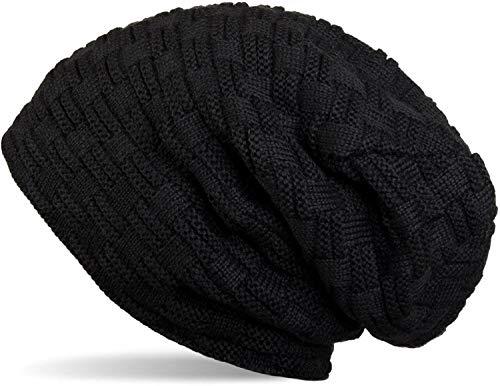 CRUMPLED Beanie Cap for Men Women Skull Slouchy Winter Woolen Knitted Black Inside Fur Mens Caps, Freesize Random Pattern