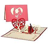 KATELUO Biglietto Auguri Matrimonio Pop Up 3D,Fiore di Ciliegio,Blossom Card Anniversary C...