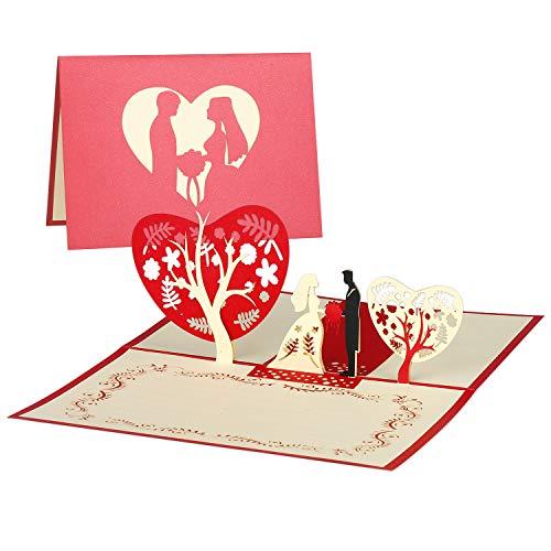 KATELUO Biglietto Auguri Matrimonio Pop Up 3D,Fiore Di Ciliegio,Blossom Card Anniversary Card, Carta Di San Valentino, Carta Di Nozze (Type4)