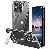 MATEPROX Funda Compatible con iPhone 13 Pro MAX Funda Carcasa Transparente Trasera Rígida Bumper Antigolpes, Delgado Protector Fundas para iPhone 13 Pro MAX 6,7''-Claro con Soporte de Metal
