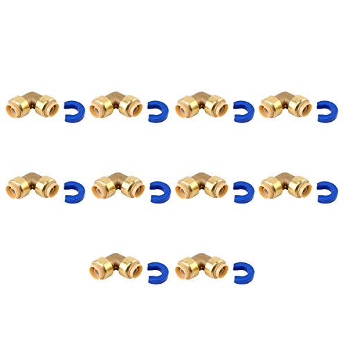 Tremax 1/2 Inch 90 Degree Push Elbow 10 Pack, Push to Connect Plumbing Fittings with a Disconnect Clip, CPVC, Pex, Copper, Lead Free Brass