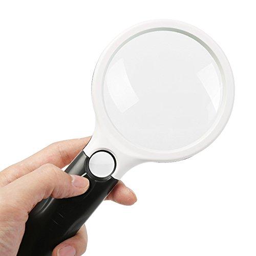 Vergrößerungsglas 20X 3LED Handheld Magnifer Lesen Lupe Objektiv Uhr Lupe Karte Zeitung Buch Lesen Lupe Schmuck Lupe Größe: 210x103x30mm