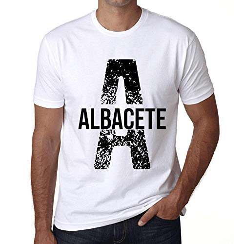 Hombre Camiseta Vintage T-Shirt Letter A Countries and Cities Albacete Blanco