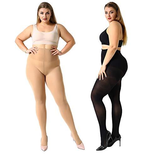 MANZI Damen Strumpfhose Übergröße Stützstrumpfhose Plus Size XL-4XL