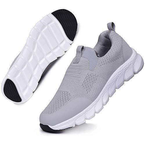 Basket Femme Mode Chaussures de Course Légères Chaussures de Marche Sport Running Respirantes Gym Fitness Sneakers Jogging Gris Clair D 38EU