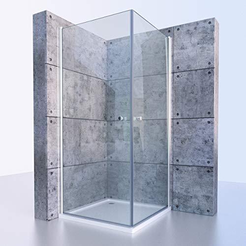 Duschkabine, Eckeinstieg, Pendeltür, Duschtür, Glasdusche, Glasduschkabine, Klarglas, ESG 6mm, 100x100x195cm