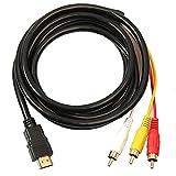 LjzlSxMF HDMI a RCA, 3 Cable de HDMI a RCA Adaptador convertidor de Cable, Hilo transmisor de una vía de transmisión de HDMI a RCA 1.5m