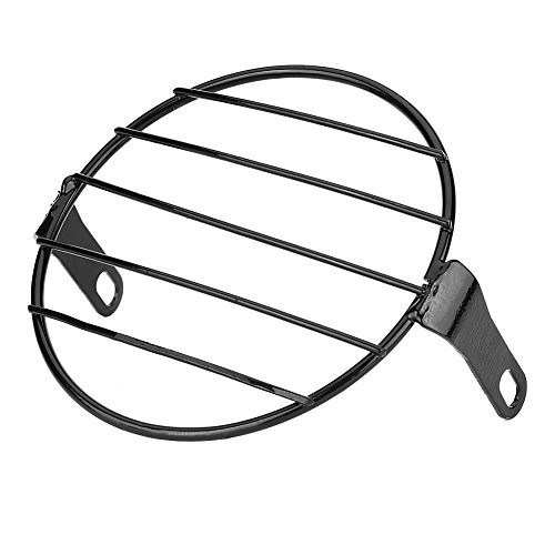 Máscara de metal para faros delanteros de motocicleta de 6,3 cm, para Cafe Racer (negro)