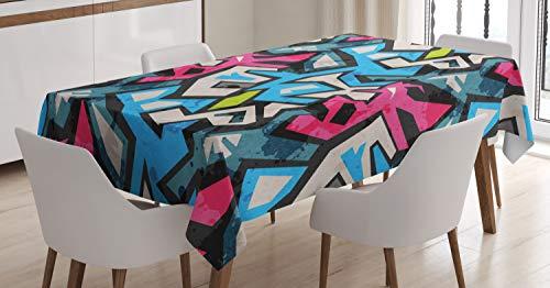 ABAKUHAUS Grunge Nappe, Street Art Graffiti Funk, Linge de Table Rectangulaire pour Salle à Manger Décor de Cuisine, 140 cm x 240 cm, Multicolore