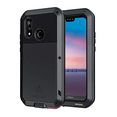 seacosmo Funda para Huawei P20 Lite, [Rugged Armour] Anti-rasguño Cover con Protector de Pantalla Carcasa Protectora del Cuerpo Completo Metal Antichoque Bumper Case, Negro