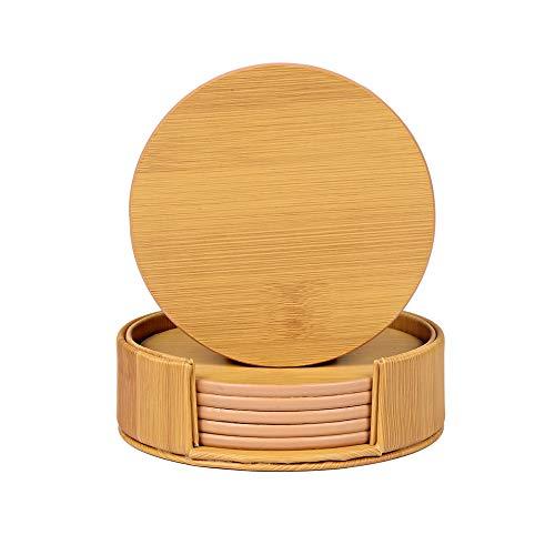 N\A 1 Juego (6 Piezas) de Posavasos con Diseño de Bambú, Posavasos de Taza de Protección de Mesa, Posavasos de Cuero PU Premium con Soporte, Posavasos Originales para Uso Doméstico y en la Coc