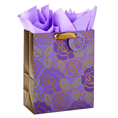 Hallmark 13' Large Gift Bag with Tissue Paper (Purple Flowers, Gold Accents) for Birthdays, Mother's Day, Bridal Showers, Weddings, Retirements, Anniversaries, Engagements, Any Occasion