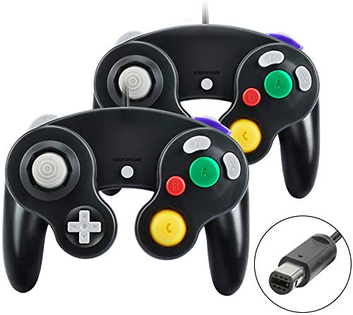yidenguk Gamecube Controller, 2er-Pack Classic Wired Gamecube-Controller Vibration Gamepad, Kompatibel mit Gamecube / Wii U / Wii / PC / Switch-Controller, schwarz