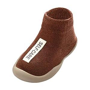 Calzado Casual Infantil Zapatos De Goma Antideslizantes Calcetines De Punto Zapatos De Casa OtoñO Nuevas Botas Desnudas Zapatos para BebéS Y NiñOs ReciéN Nacidos Zapatos De Primer Paso(marrón,21EU)