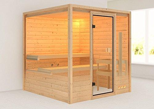 Woodfeeling 38 mm Massiv Sauna Ilya mit Dachkranz (Fronteinstieg) - für niedrige Räume