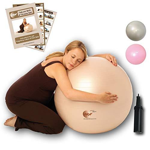 nbf Gymnastikball Schwangerschafts mit Pumpe 55cm 65cm 75cm Geburtsball für Schwangere und Geburt 65cm Weißgold