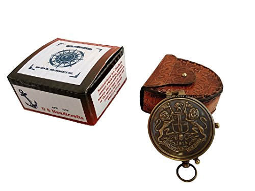 US HANDICRAFTS 1875 East India Company Brass Compass Best Dad/A Beautiful Gift for Father/Gift for Father/Father's Birthday Gift.Flat Compass with Chain & Leather case.