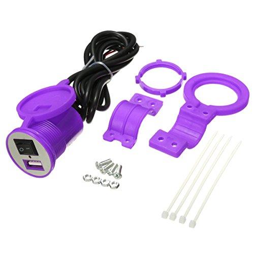 JenNiFer Adaptateur Secteur Chargeur De Voiture USB 12-24V Étanche pour Moto avec Interrupteur - Violet