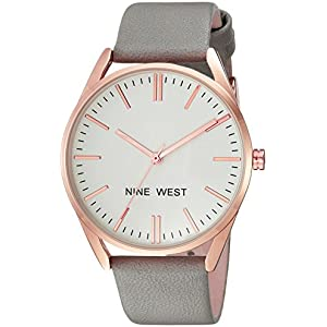 Save on Nine West Women's NW/1994RGGY Rose Gold-Tone and Grey Strap Watch and more