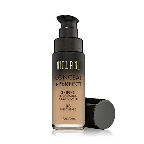 Milani Conceal + Perfect 2-in-1 Foundation + Concealer - Light Beige (1 Fl. Oz.) Cruelty-Free Liquid Foundation - Cover Under-Eye Circles, Blemishes & Skin Discoloration for a Flawless Complexion