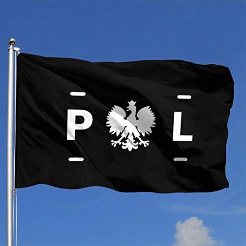 N/A Flagge,Hanging Flag Dekor,Garten Banner,Fahne,Polska Eagle Usa Flagge Polyester Flagge-Lebendige Farbe Und Uv-Lichtbeständigkeit Für Den Außen-/Innenbereich 150X90 cm