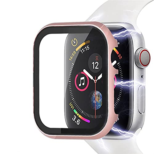 ZHONGGOZZ Matel Glass + Funda para la Serie de Relojes de Apple 5 4 3 44 mm 40 mm para la Cubierta Protector de Pantalla de IWATCH 42mm 38mm para Accesorios de Apple Watch