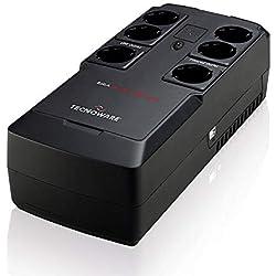 Tecnoware UPS Era Plus Strip 800 - Gruppo di Continuità - 6 Uscite Schuko Protette da Tensioni - Autonomia Fino a 10min/PC o 40min/Modem - AVR - USB e Software di gestione TecnoManager - Potenza 800VA
