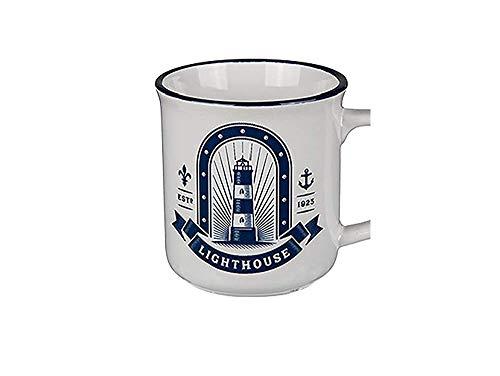 Bavaria-Home-Style-Collection Kaffeetasse, Kaffeebecher, Tasse, Becher - I Love München oder I Love Hamburg - aus Porzellan - 300 ml. - Geschenk für Sie/Ihn (Leuchtturm)