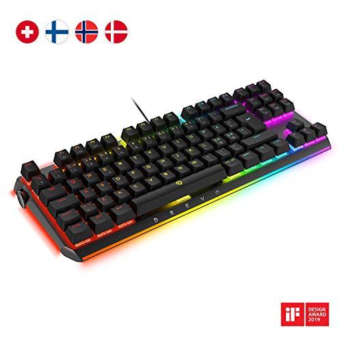 DREVO BladeMaster TE All Rounder RGB tastiera meccanica da gioco con manopola genio programmabile - layout nordico 88K [interruttore lineare pesante Gateron marrone]