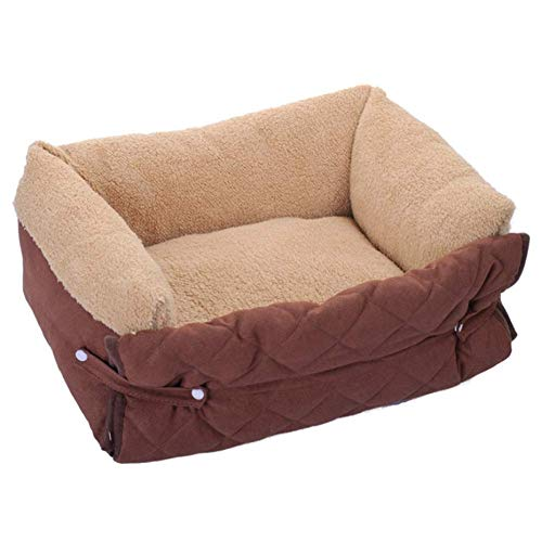 IAOHUO Dog Beds,Multi-function Pet Bed Removable Cover Warm Pet Nest Super Soft Plush Cave Comfortable Pet Sofa Pet Sleeping Bag,Fully Removable And Washable (Color : Brown, Size : M(56x37x19cm))