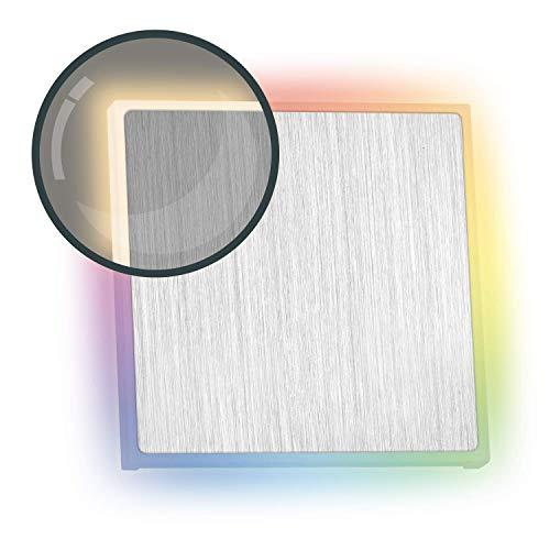 RGB LED Treppenbeleuchtung EDGE aus Aluminium - Eckig - Für Schalterdoseneinbau 60/68mm - 11 Farben + Warmweiß - Farbe aluminium [Stufenbeleuchtung - Wandbeleuchtung - indirekt]