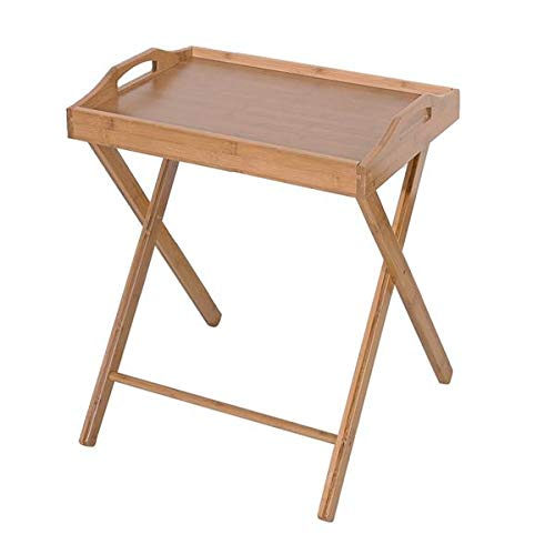 WDDH Bamboo Folding Table, Portable Floor Standing Folding...