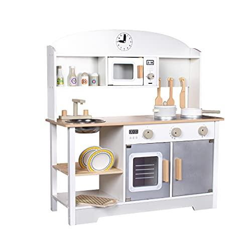 Cucina in Legno CalmaDragon BL-19203, Large, Cucina Giocattolo con Forno a microonde, lavello, Forno e 13 Accessori
