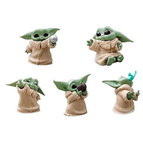AMZYY Modelos de Baby Yoda, Figura de Colección Mini Yoda de PVC Hecha a Mano de 5 Piezas, el Juguete Mandaloriano para el Regalo y la Decoración del Día de los Niños de Cumpleaños de Navidad