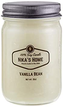 Nika s Home Vanilla Bean 12oz Mason Soy Candle