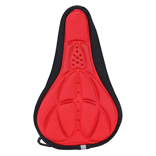 Ciclo de la Bici del Amortiguador de Asiento de la Cubierta del Gel Grueso cojín Amortiguador de Asiento de la Silla de Montar de la Cubierta 3D Suave para MTB de la Bicicleta (Rojo)
