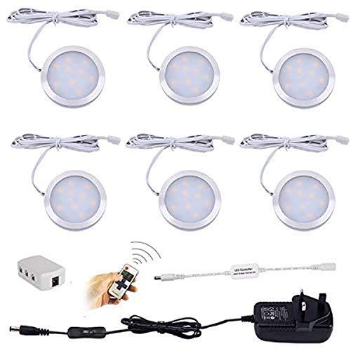 Aiboo Dimmbare LED Unterschrank Küche Beleuchtung Zähler Vitrinenbeleuchtung mit Stecker und dimmbarer Funkfernbedienung Funkfernbedienung 6 Ultra Slim Puck Lights Kit - 4000k Natural White