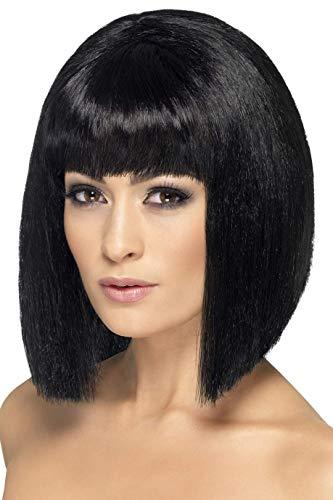 Smiffys Perruque coquette, noire, cheveux courts avec frange M