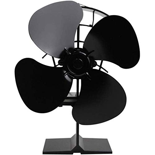 Gib nooit op hetelucht-kachel fan houtkachel draagbare warmte ventilator kachel koeling stille warmte aandrijving koele bescherming efficiënte ventilator 4 stuks ventilator zwart A (2 pakjes).
