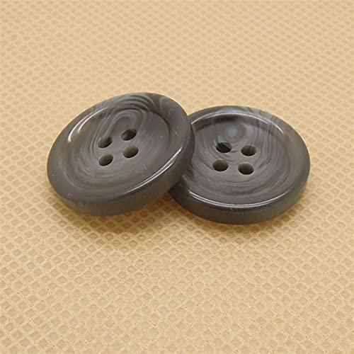 LWCHJ 20pcsブラックグレーの模造ホーンパターン樹脂ボタン男性と女性のファッションウールコートスーツ手縫いボタンテーラーのツール (Color : Black Gray, Size : 25MM)