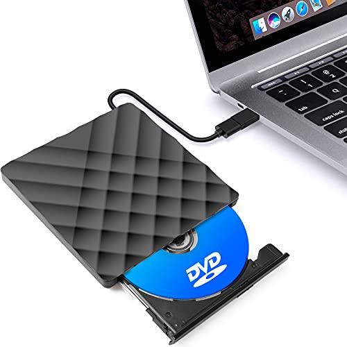 DVDドライブ 外付けCDドライブ CD/DVDプレーヤーUSB3.0ケーブル付属 薄型ポータブル 高速 薄型 静音 読込み・書き込み Type-A Type-C Window/Mac 対応 ポータブルドライブ ブラック