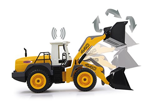 RC Auto kaufen Baufahrzeug Bild 3: Jamara 410005 - Radlader 440 1:20 2,4G - Schaufel heben / senken / abkippen, realistischer Motorsound (abschaltbar), programmierbare Funktionen, Blinker, Autoabschaltfunktion, 2 Radantrieb*