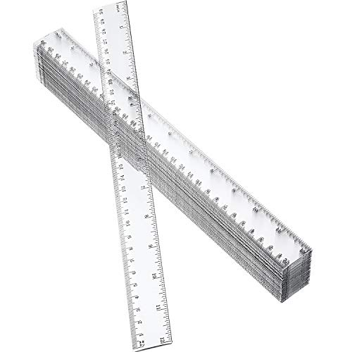 50 Pack Clear Plastic Ruler, 12 Inch Standard/Metric Rulers Straight Ruler Measuring Tool for Student School Office (Clear)
